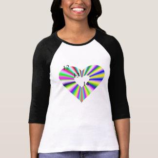 12 13 14 raglán del arco iris de las señoras camiseta