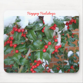 12 1 2008 056, Snow On Holly, Happy Holidays Mouse Pad