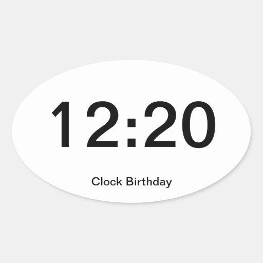 12:20 del pegatina del cumpleaños del reloj