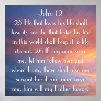 12:25 de Juan del recordatorio del verso de la bib Póster