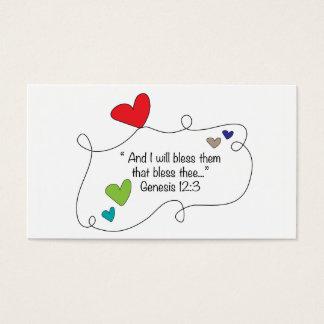 12:3 cristiano de la génesis de los corazones de tarjetas de visita