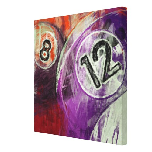 12 and 8 Billiards Canvas Print - game room wall decor - game room wall decorations