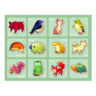 12 Animals Postcard(Customizable) -horizontal