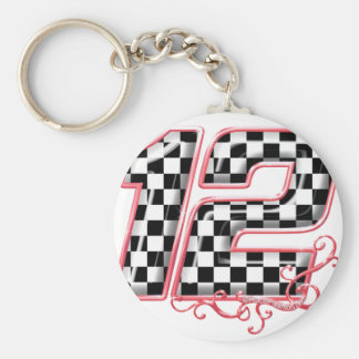 12 auto racing number basic round button keychain