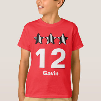 12 Birthday Boy Three Stars Big Number Custom Name T-Shirt