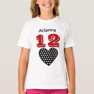 12 Birthday Girl Big Heart Custom Name V04 T-Shirt