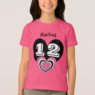 12 Birthday Girl Layered Hearts V11 PINK and BLACK T-Shirt