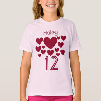 12 Birthday Girl or Any Year RUBY RED Hearts V3 T-Shirt