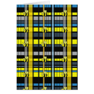 12 Black and Yellow Plaid Bumble Bees Design Cards