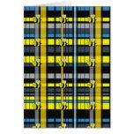 12.Black y la tela escocesa amarilla manosean dise Felicitacion