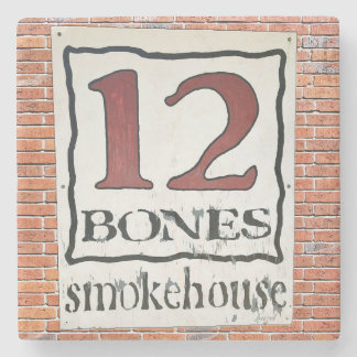 12 Bones Asheville NC Marble Stone Coaster. Stone Coaster