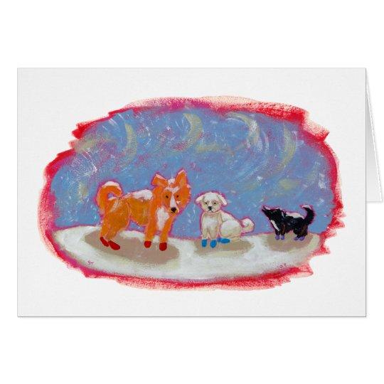12 boots fun dogs cute modern folk art painting card