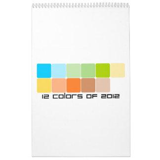 12 colores de 2012 calendario de pared