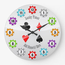 12 Colorful Poker Chips And Playing Cards Suits Large Clock