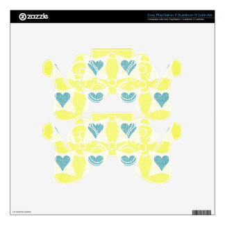 12__couple-set-paper3 PASTEL YELLOW BLUE WHITE FLO Skin For PS3 Controller