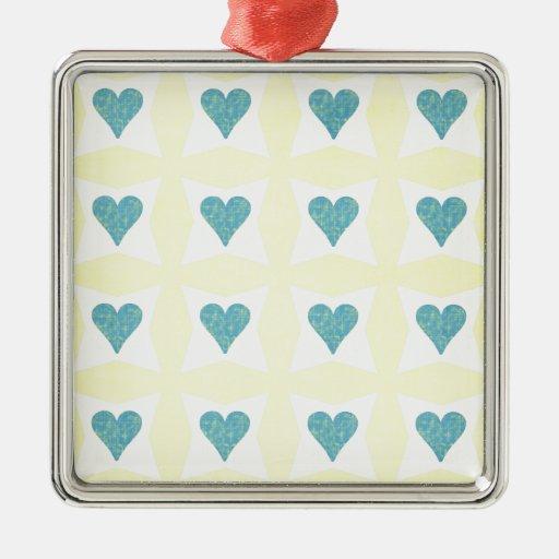 12__couple-set-paper3 PASTEL YELLOW BLUE WHITE FLO Square Metal Christmas Ornament