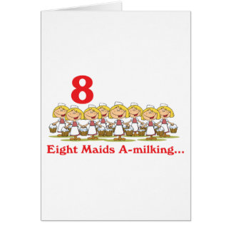 12 days eight maids a-milking card