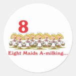 12 days eight maids a-milking round stickers