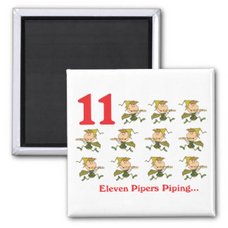 12 days eleven pipers piping 2 inch square magnet