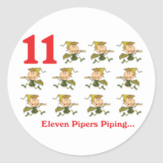 12 days eleven pipers piping classic round sticker