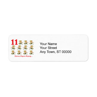 12 days eleven pipers piping return address label