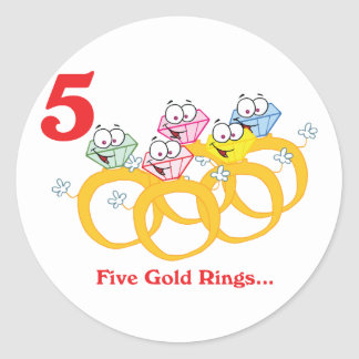 12 days five gold rings classic round sticker