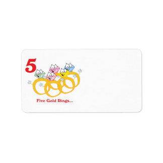 12 days five gold rings address label