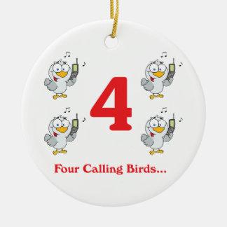 12 days four calling birds ceramic ornament