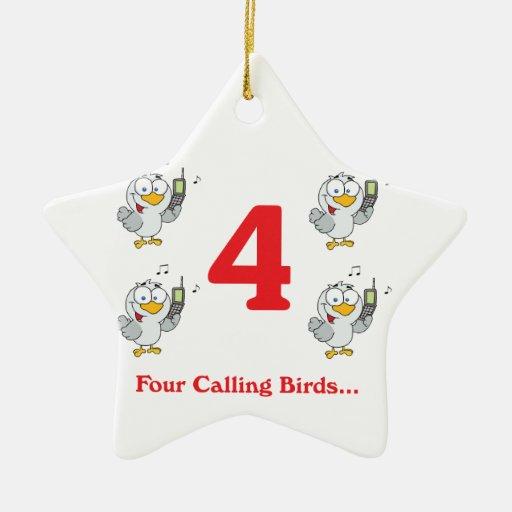 12 days four calling birds christmas tree ornaments