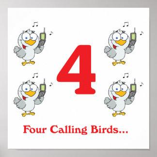 12 days four calling birds poster