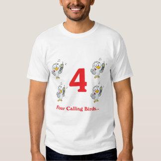 12 days four calling birds tee shirts