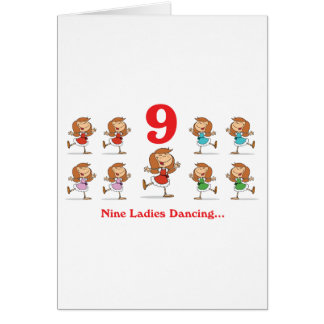 12 days nine ladies dancing card