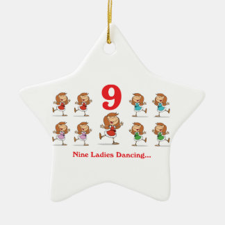 12 days nine ladies dancing ceramic ornament