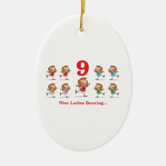 12 days nine ladies dancing ceramic ornament