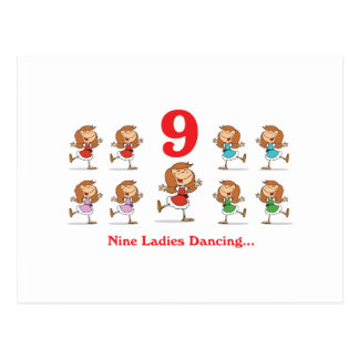 12 days nine ladies dancing postcard