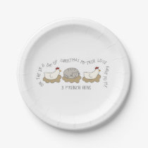 12 Days of Catmas 3 French Hens Christmas Paper Plate