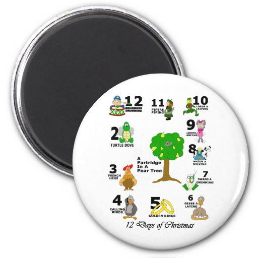 12 Days of Christmas 2 Inch Round Magnet