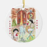 12 Days of Christmas 3 French Hens Christmas Ornaments