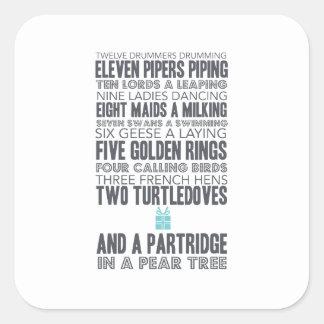 12 Days of Christmas | Blue Square Sticker