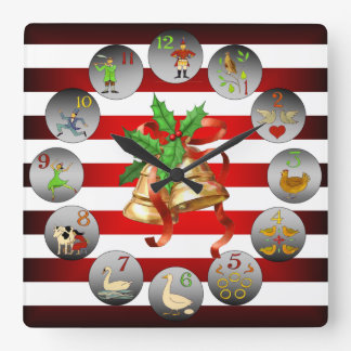12 Days Of Christmas ~ Christmas Bells ~ Stripes ~ Square Wall Clock