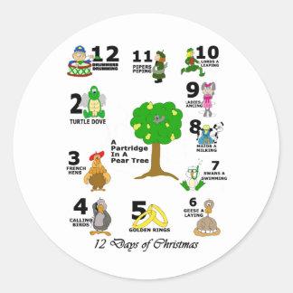 12 Days of Christmas Classic Round Sticker