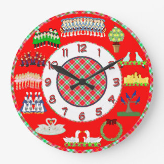 12 days of christmas clock red and white
