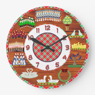 12 days of christmas clock wood and plaid