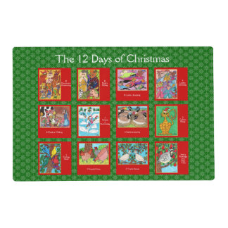 12 Days of Christmas Cute Animals Placemat