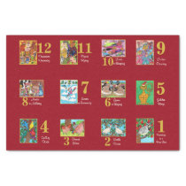 12 Days of Christmas Cute Animals & Typography Tissue Paper