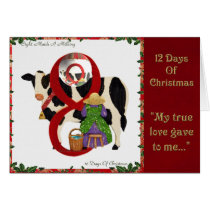 12 Days of Christmas Eight Maids A Milking Card