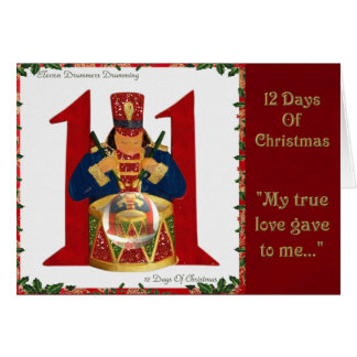 12 Days of Christmas Eleven Drummers Drumming Greeting Card