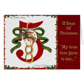 12 Days of Christmas Five Golden Rings Greeting Card