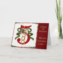 12 Days of Christmas Five Golden Rings Holiday Card