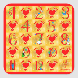 12 Days of Christmas Folk Art with Hearts on Gold Square Sticker